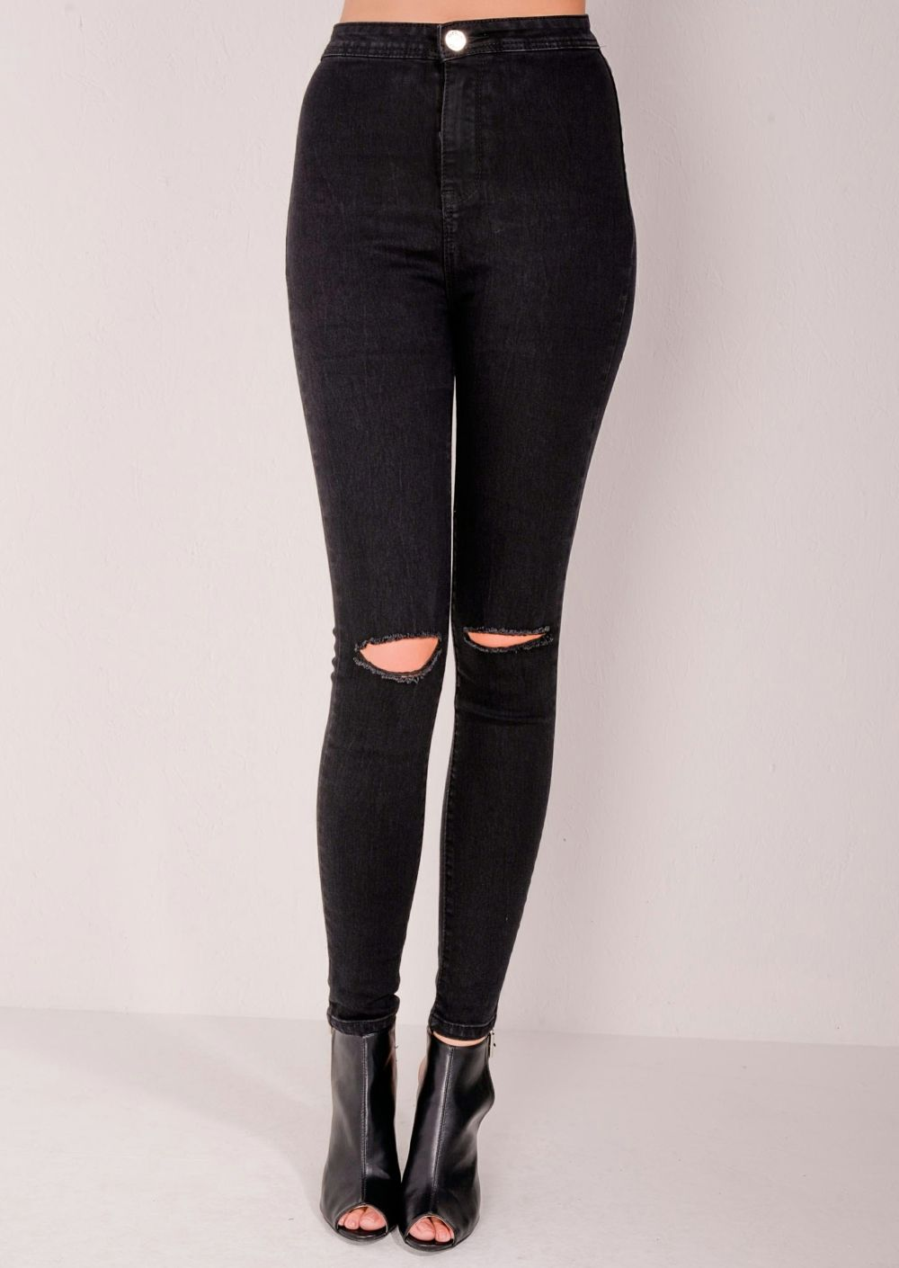 Rust Ripped Knee Skinny Jeans ($44) ❤ liked on Polyvore featuring ...
