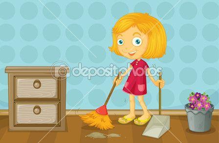 Una Chica Limpiando Un Cuarto Vector De Stock 17588687 Ilustraciones Vector Ama De Casa