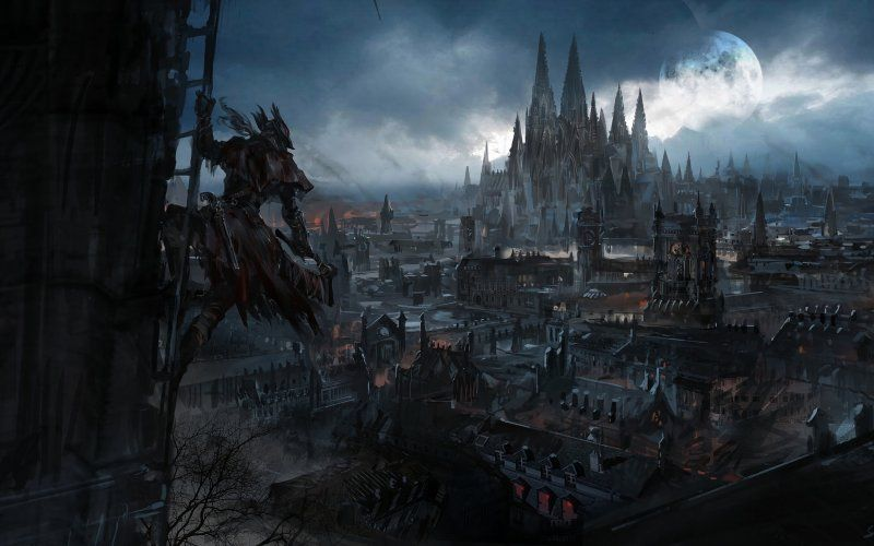 Desktop Wallpaper Dark Fantasy City Bloodborne Video Game Hd Image Picture Background 8f72d8 In 2020 Dark Fantasy Art Bloodborne Urban Fantasy Art