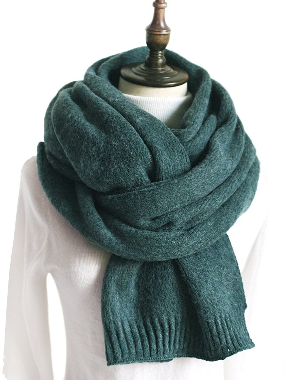 8cf570816601f Women Knit Scarf- Thick Warm Soft Simple Neck Scarves Lambswool Pashmina  Feel - Green - CA1888M8RXO - Scarves & Wraps, Cold Weather Scarves & Wraps # Scarves ...
