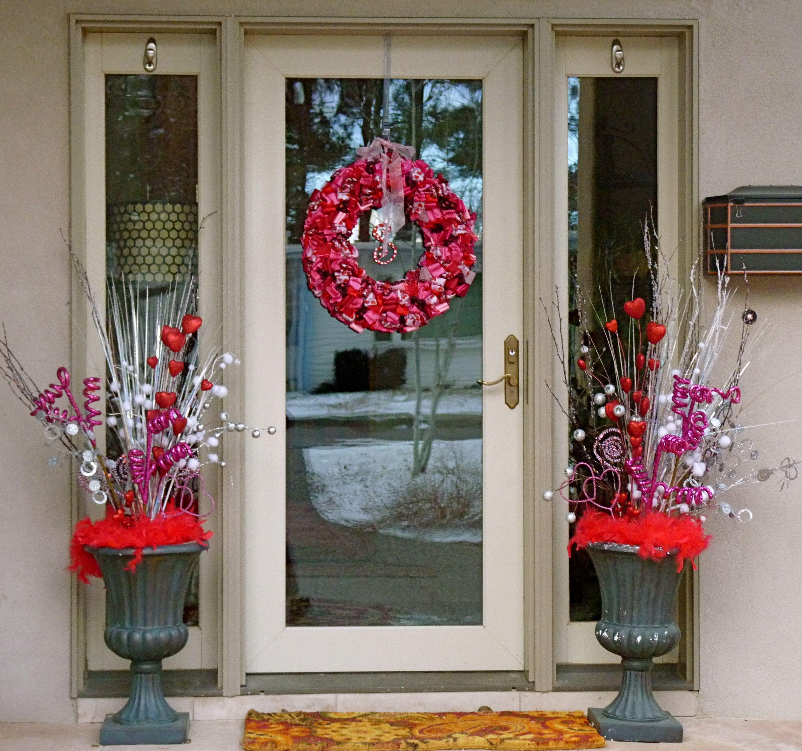 Valentine front door urns and wreath valentines day pinterest valentine front door urns and wreath rubansaba