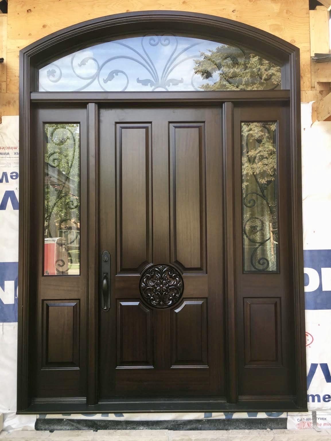 New Construction Features Stunning Handmade Custommade Solid Mahogany Amberwooddoor With Metal Doors Design Entrance Door Design Front Door Design Wood