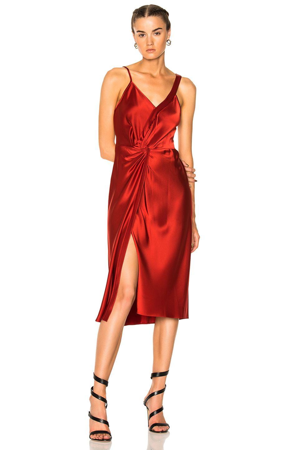 Loewe T By Alexander Wang Knot Front Dress In Red In Black Modesens