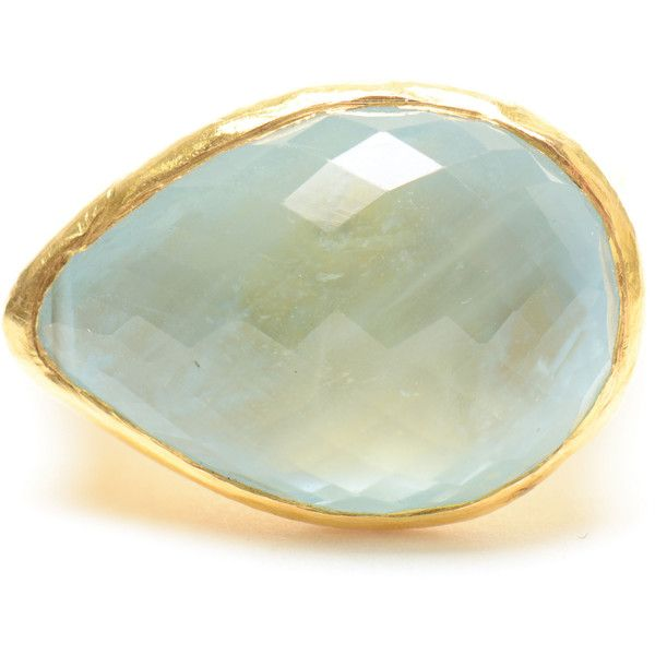 Hammered 22k Gold Aquamarine Ring ($2,930) ❤ liked on Polyvore