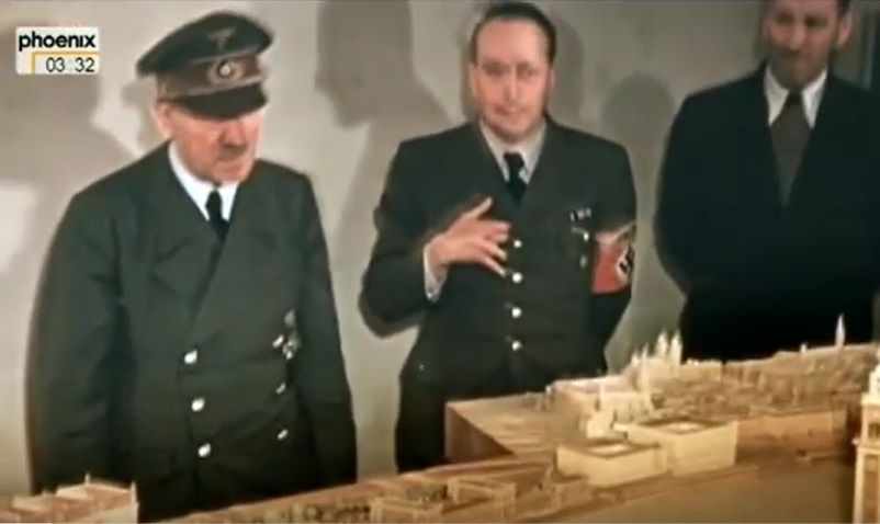 One of the last photos of Hitler, taken in January, 1945. He's looking at models of his beloved Linz, with Hermann Giesler in the middle. Hitler by this time was a walking shell of his former self and had only a few months left in this world.