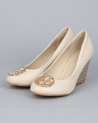 #Shoes [Buy New: $24.90 (On sale from $49.00)] - Nature Breeze Realynn-01 Round Toe Tory Burch Inspired Ballet Flat Wedge Sandal Metal Embellishment - Bone PU