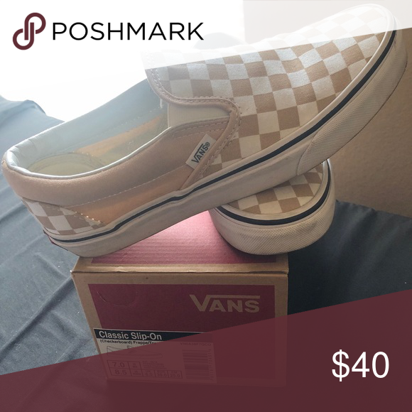 Tan checkered vans   Womens shoes
