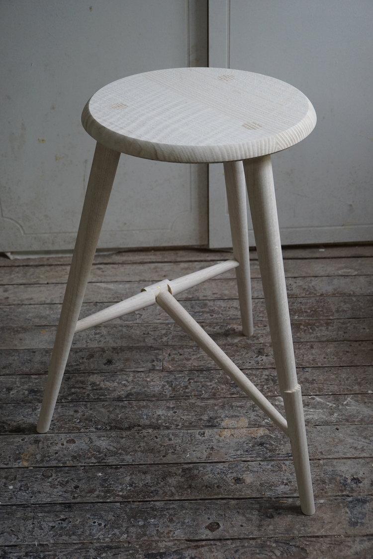 Offset Taper Stool Fair In 2021 Stool Oak Stool Upholstered Chairs