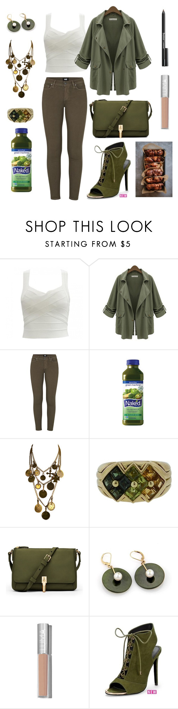"""""""Green Machine ⚖"""" by breeyvonne ❤ liked on Polyvore featuring Chicnova Fashion, Paige Denim, Yves Saint Laurent, Bulgari, Elizabeth and James and Butter London"""