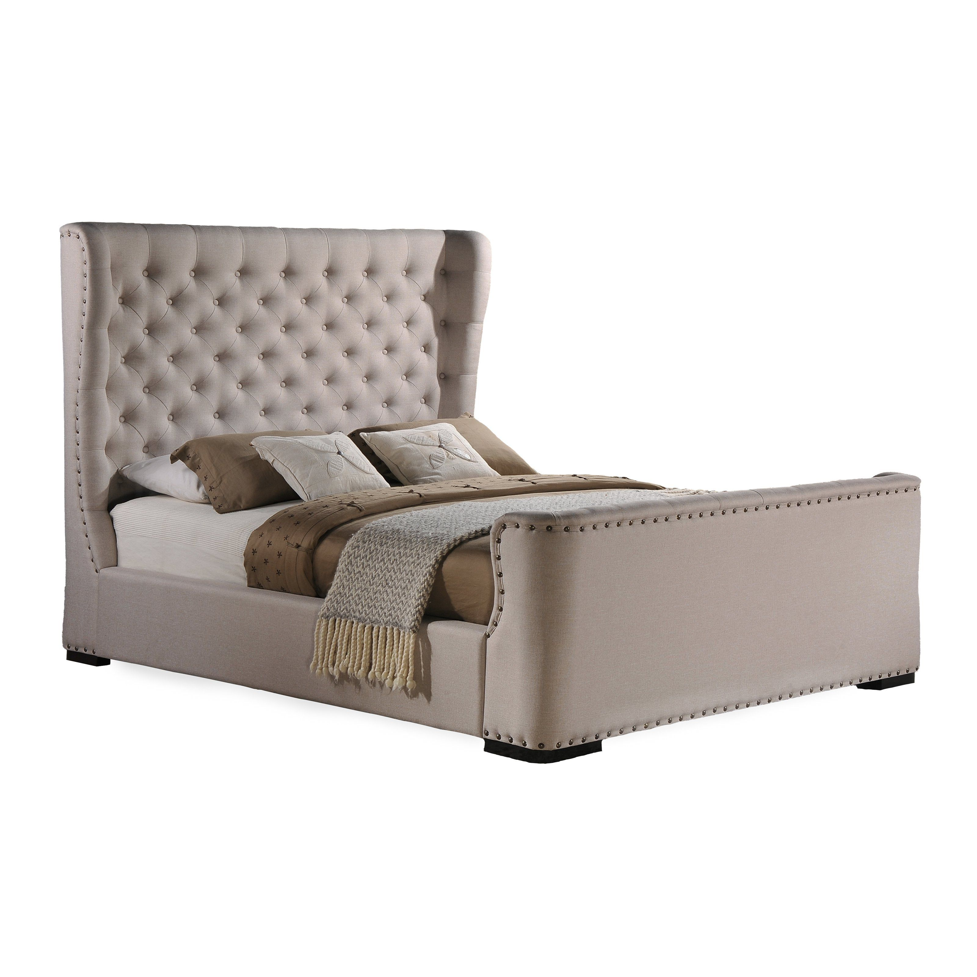 Baxton Studio Zuckerman Upholstered Wingback Platform Bed   Sleep Like A  King (or Queen)