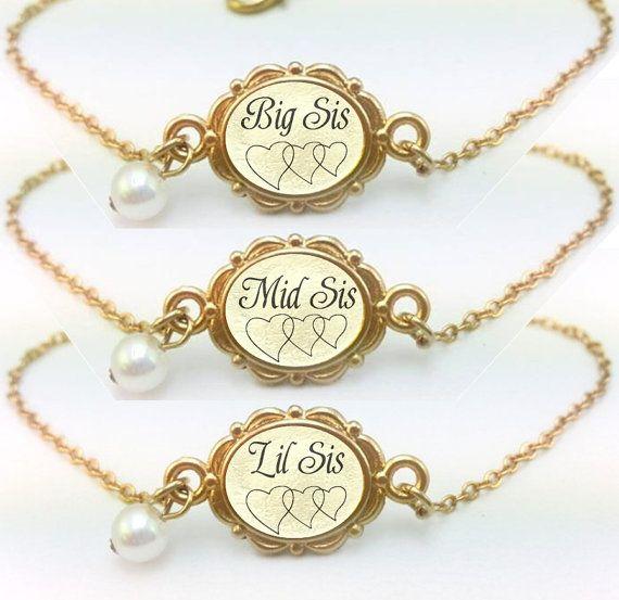 Big Sis Mid Sis Lil Sis Bracelet Set of 3  Big by aMatterOfChoice
