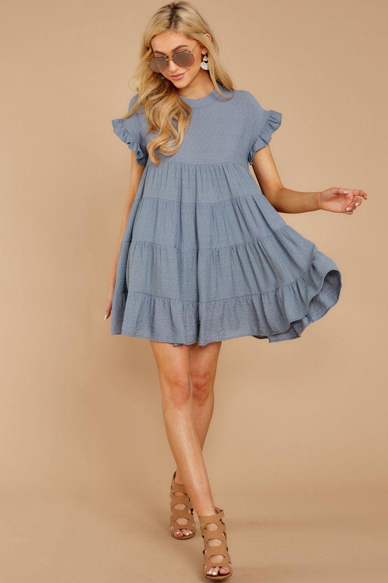 a640d7ebbba Darling Blue Shift Dress - Short Sleeve Babydoll Dress - Dress -  44 – Red  Dress