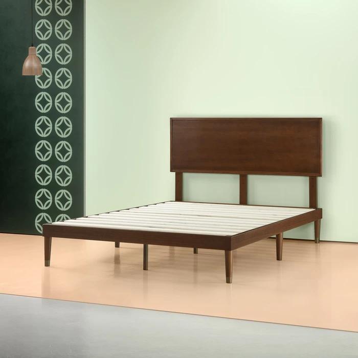 Raymond Wood Platform Bed Frame with Adjustable Headboard
