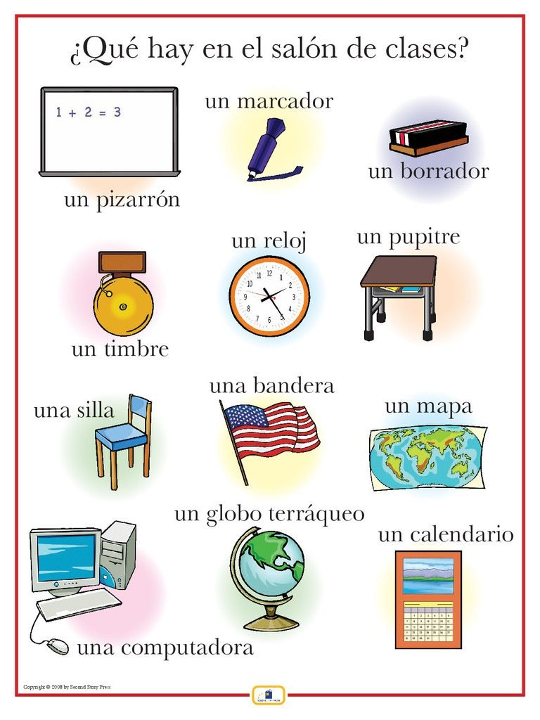 qu hay en el sal n de clases el aula espagnol 02 vocabulaire pinterest espagnol. Black Bedroom Furniture Sets. Home Design Ideas