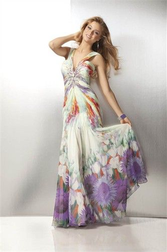 dfe14cc9583 Pleated Print Chiffon Prom Dress 17128