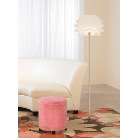 Possini Euro Design White Flower Floor Lamp