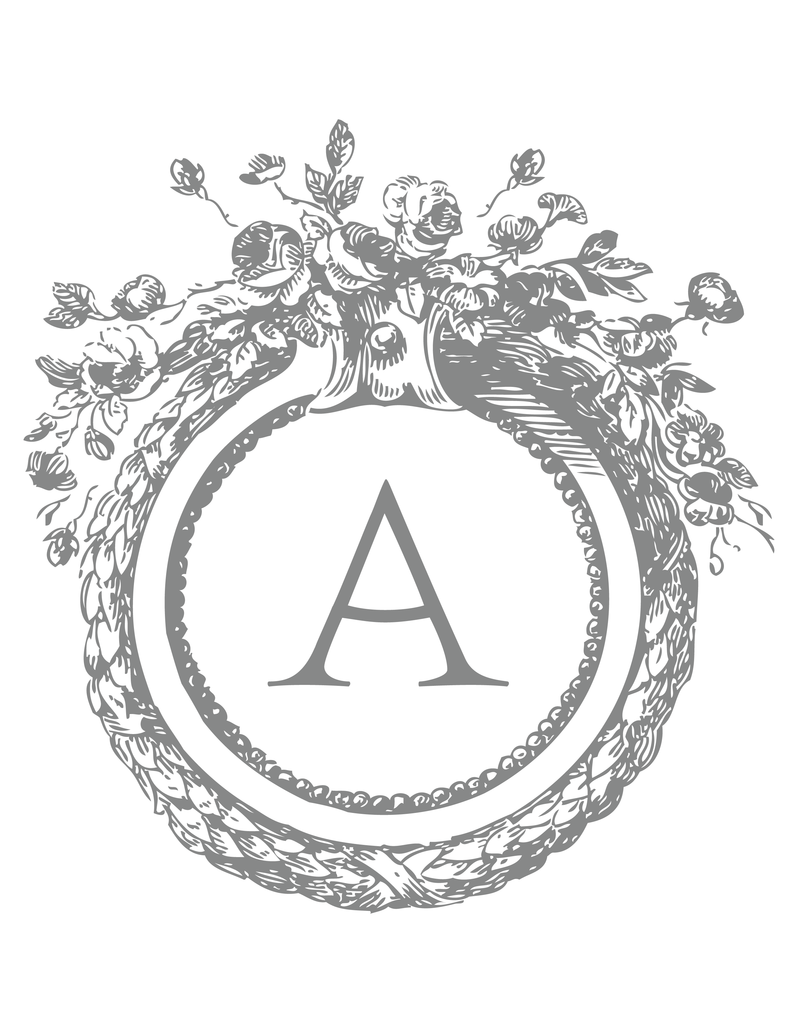Monogram \'A\' via Martha Stewart Template. | Preppy girls | Pinterest ...