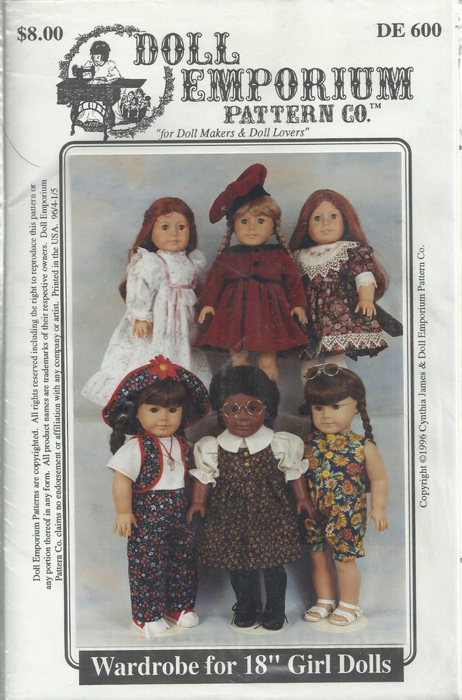 "Doll Emporium Pattern #600 Wardrobe for 18"" Girl Dolls like  American Girl Doll"