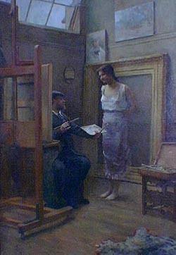 En el taller - Sívori Eduardo Óleo sobre tela , 132x90 cm (1891)