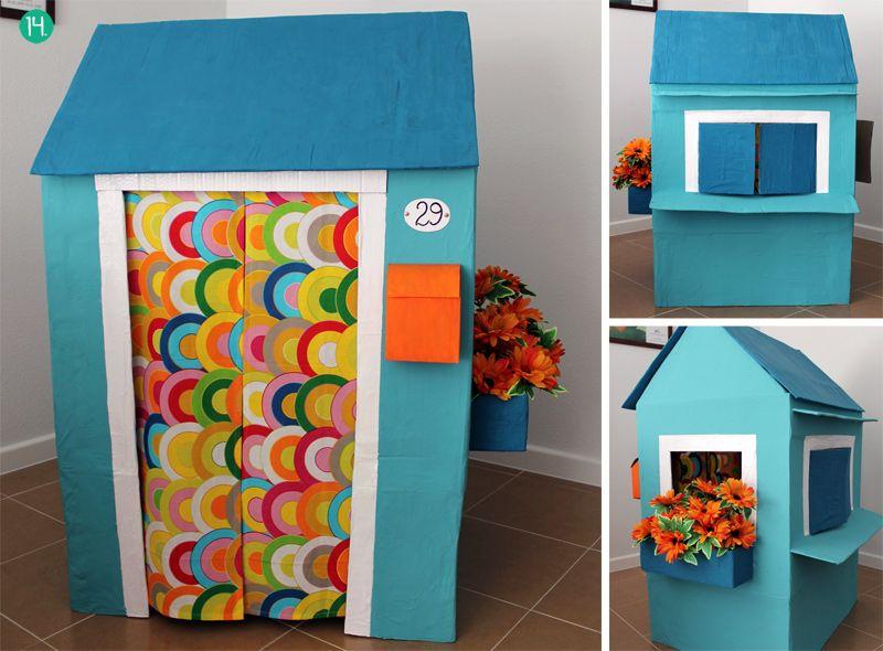 Cómo Hacer Una Casita De Cartón Ahora Soy Mamá Cardboard House Cardboard Houses For Kids Spring Crafts