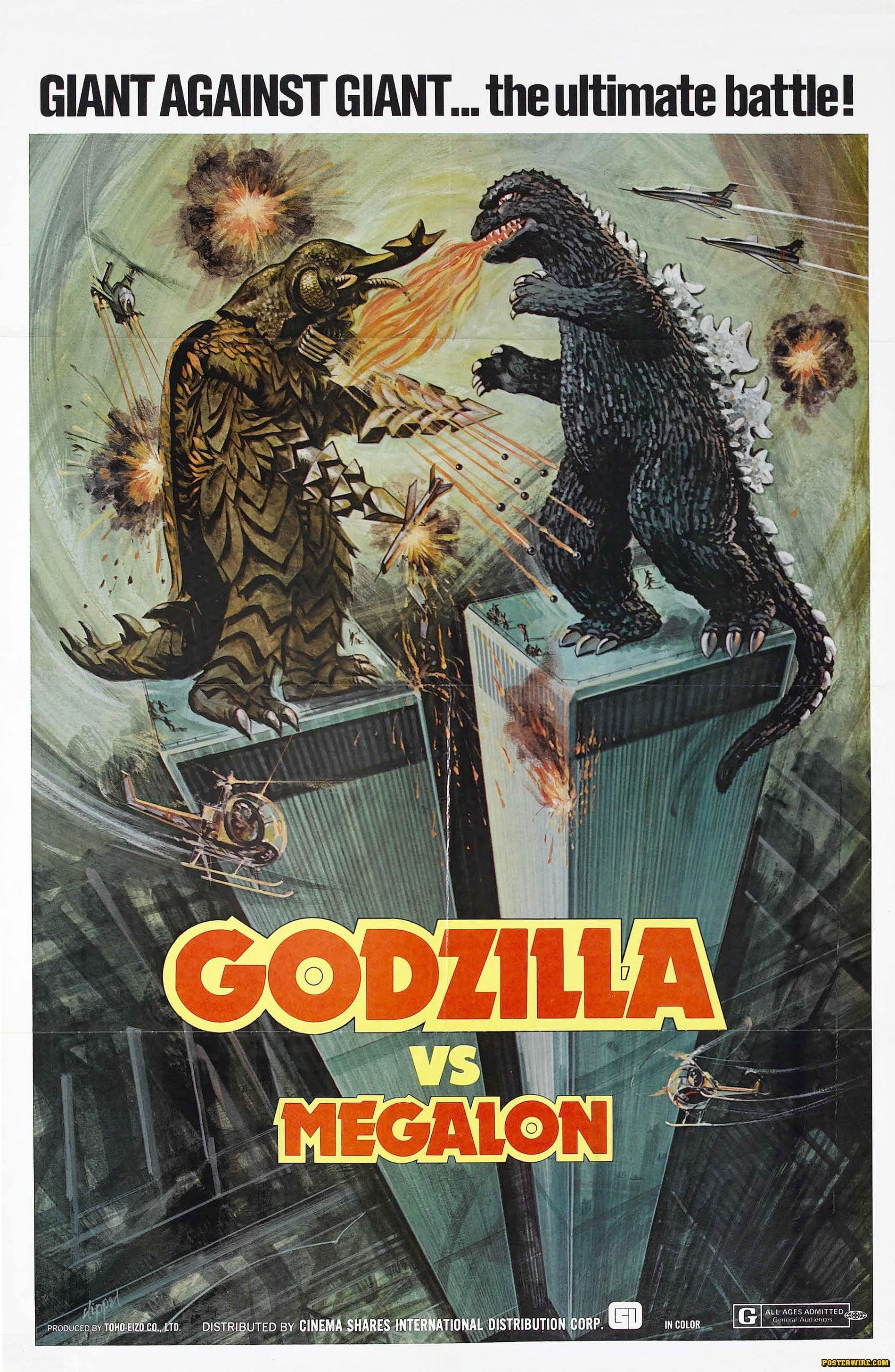My Absolute Favorite Godzilla Poster Of All Time The Poster For Godzilla Vs Megalon Godzilla Godzilla Vs Movie Posters Vintage