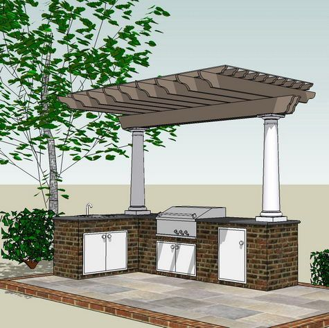 Covered pergola over kitchen area with storage built into for Porch canopy plans