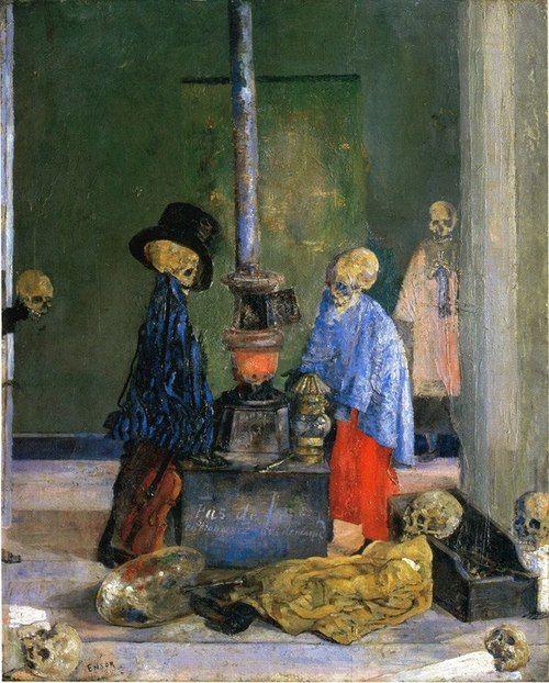 """James Ensor """"Sleletons Warming Themselves"""" {ca.1889}"""