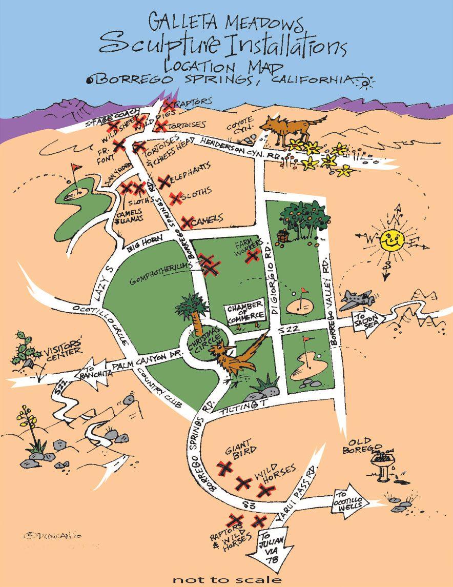 Map of location of metal sculptures AnzaBorrego Desert State Park