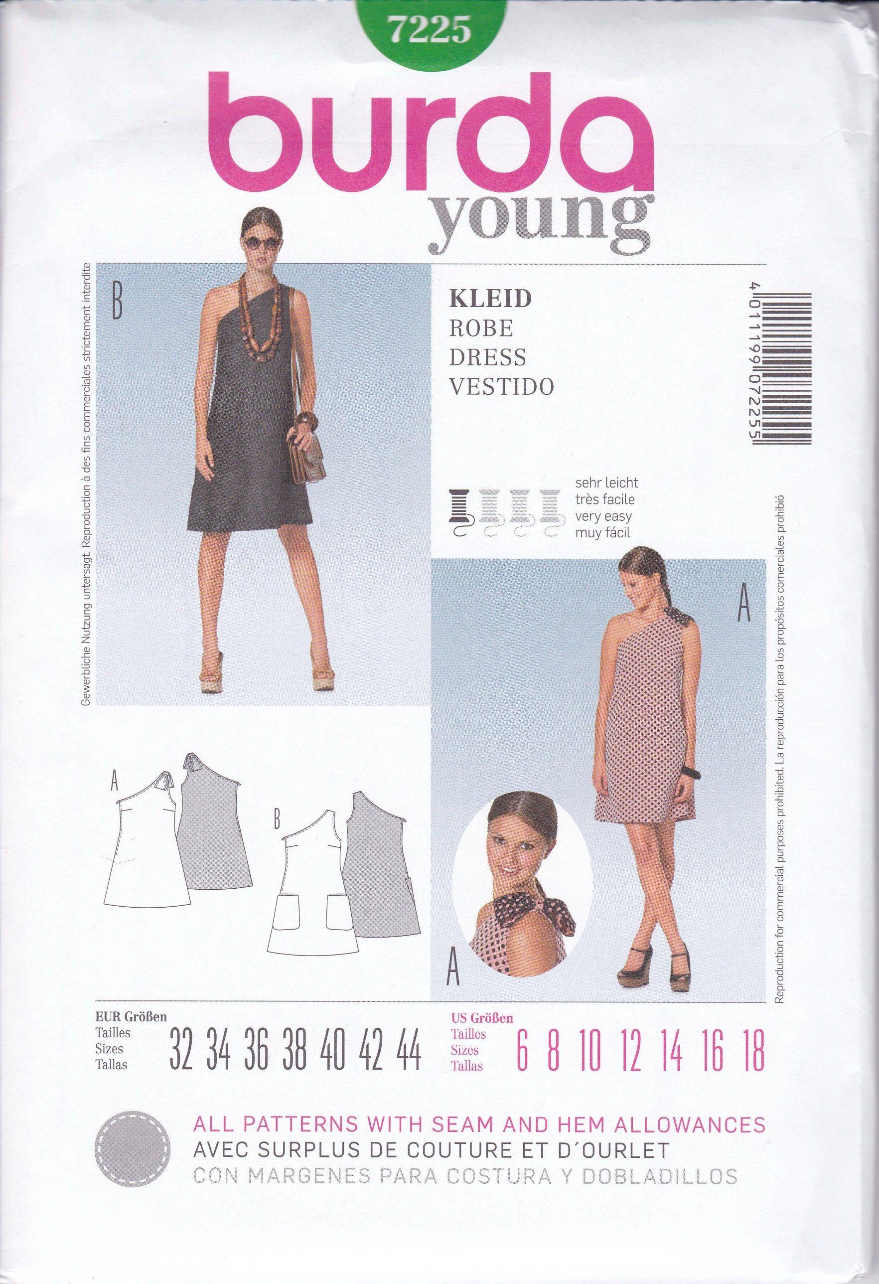 Free Us Ship Burda Young 7225 Sewing Pattern One Shoulder Goddess ...