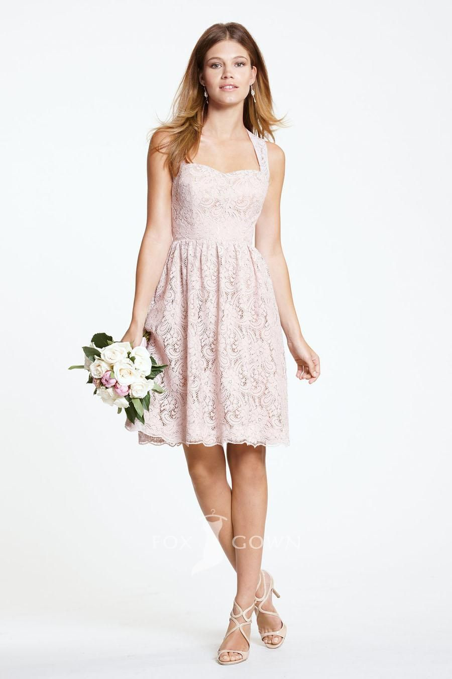pink lace queen ann neck knee length bridesmaid dress with keyhole back 14689fc081f8