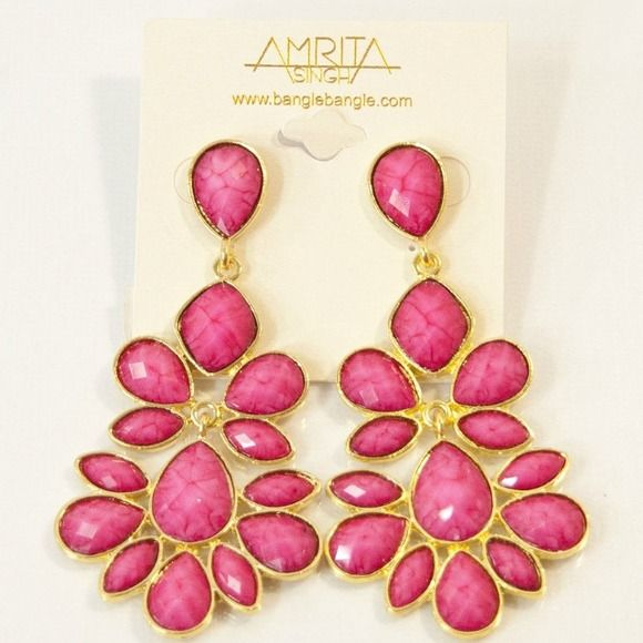 New amrita singh nello fuschia chandelier earrings nwt designer new amrita singh nello fuschia chandelier earrings nwt aloadofball Image collections