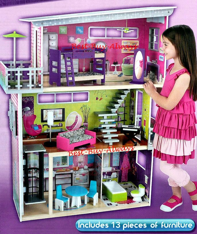 Big wooden doll house set large kit with furniture for for Big modern dollhouse