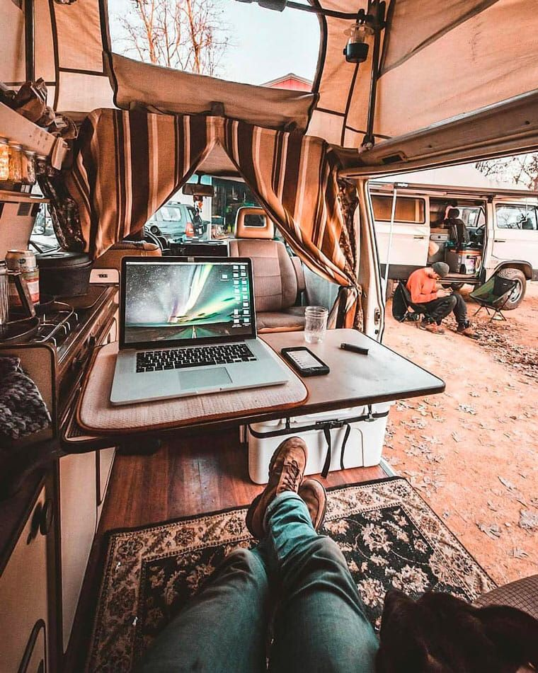 41c059b96b ... this article has the perfect vanlife organization ideas and hacks for a  DIY campervan build. Lot s of mobile office ideas and some cool ...