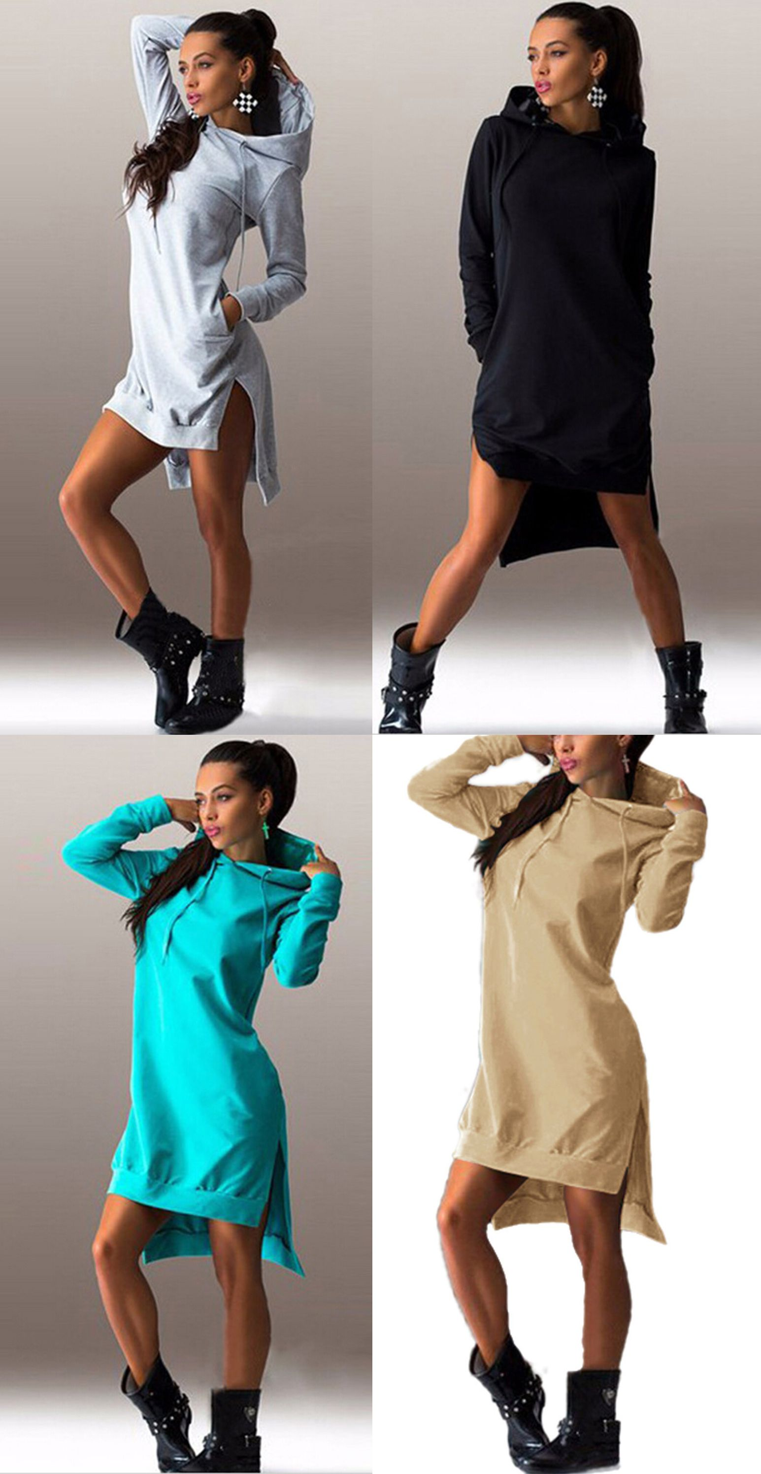 fdc71bba34c Women's Fashion Solid Long Sleeve High Low Hoodie   Woman's Swagg ...