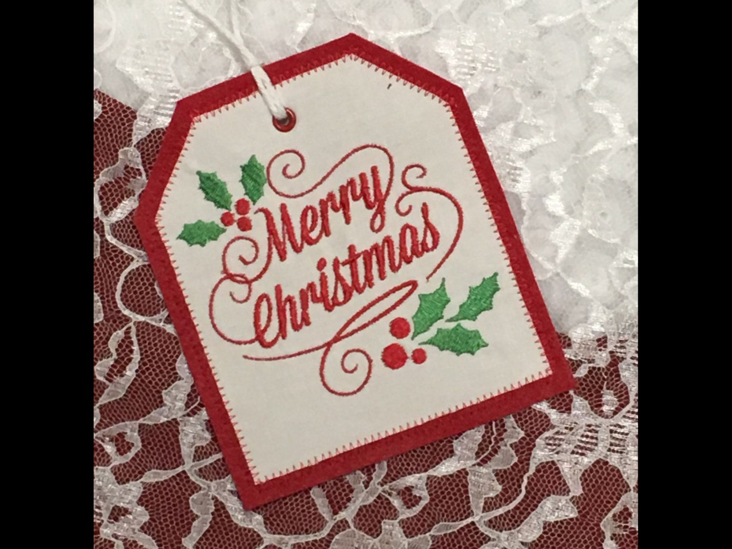 Personalized Embroidered Gift Tag, Merry Christmas Stocking Tag, Merry  Christmas Embroidered Gift Tag, FabricReusable Embroidered Gift Tag