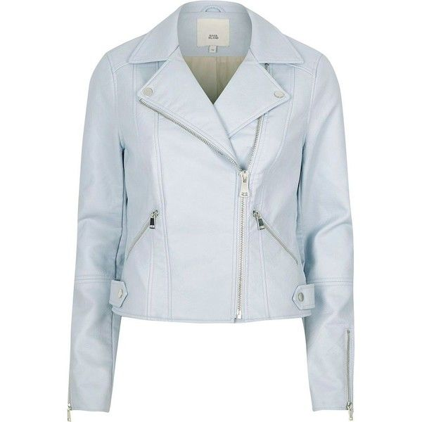 f05e2f950 River Island Light blue faux leather biker jacket ( 120) ❤ liked on ...