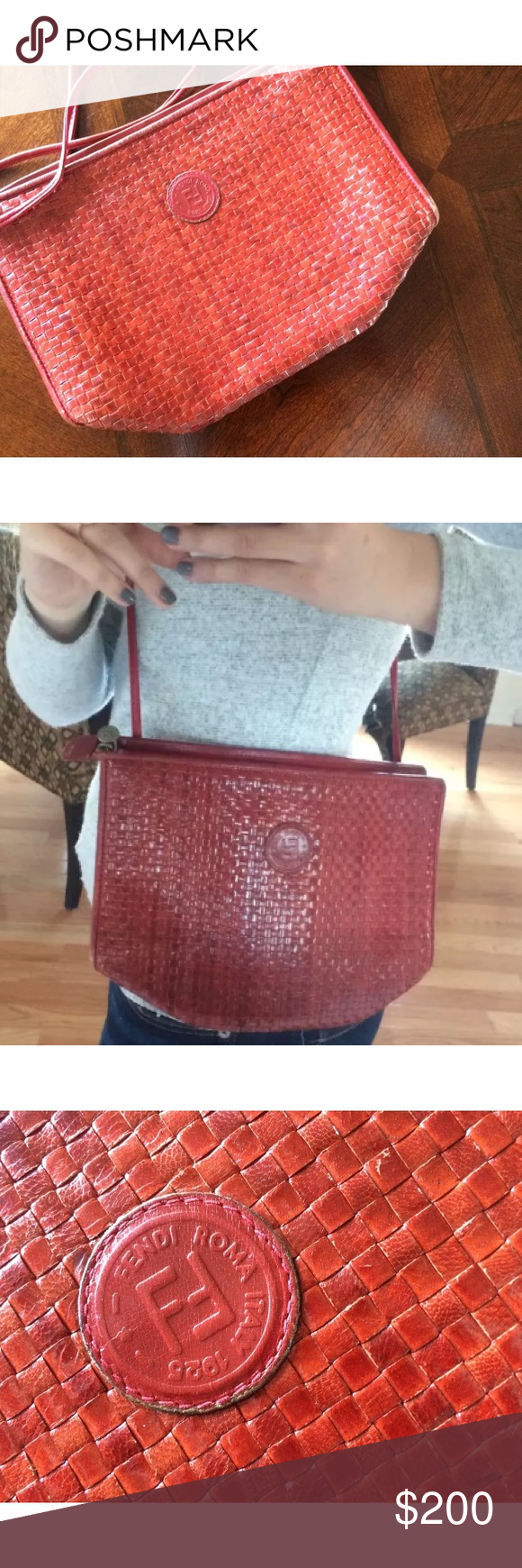Rare Sold out Vintage Red Fendi Crossbody Purse Vintage Fendi Crossbody  with beautiful woven leather. This is a burnt red color and has some signs  of wear ... cafe14b0c4eba