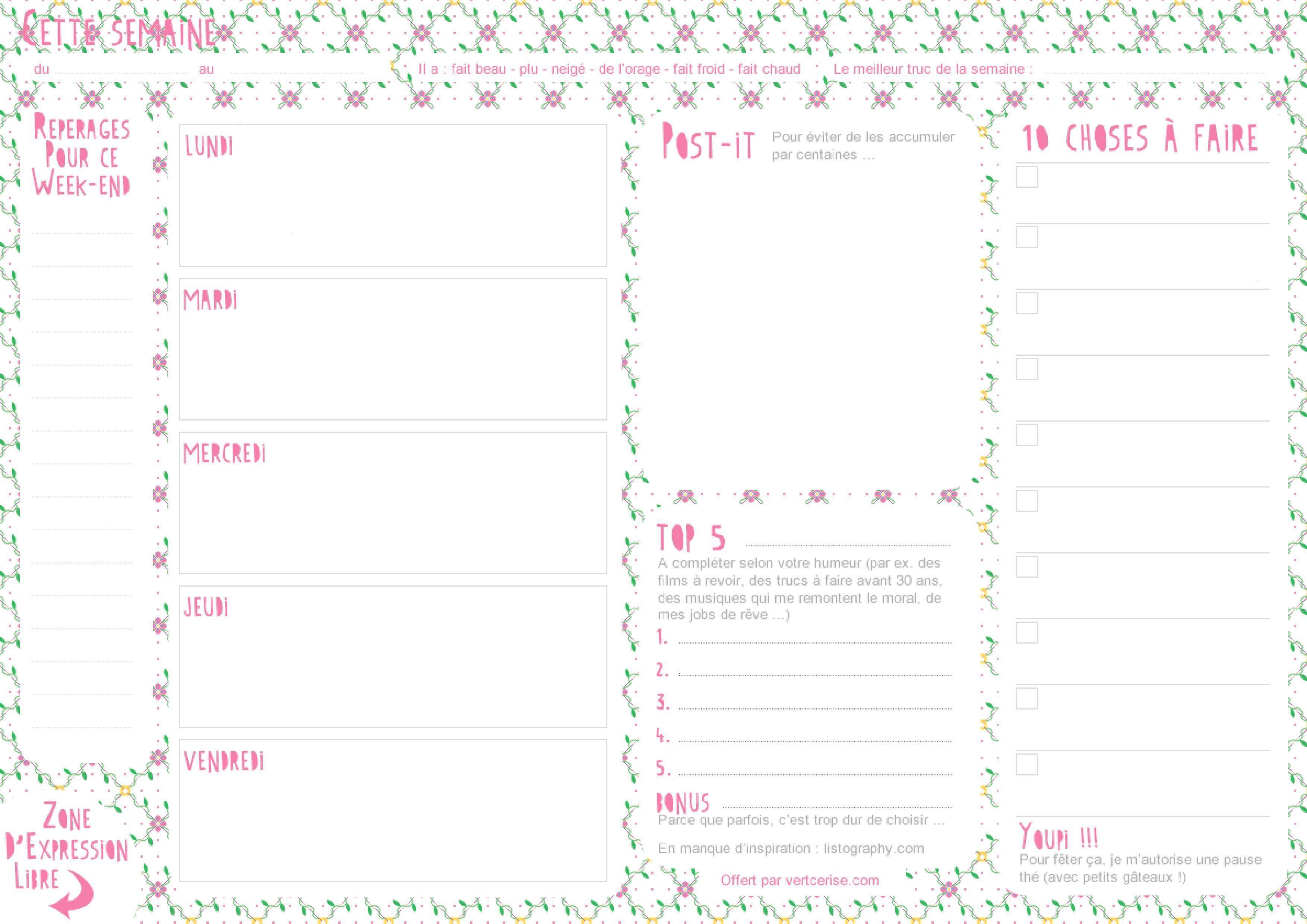 Extrêmement Semainier → planning de semaine → à imprimer | semaine  JV37