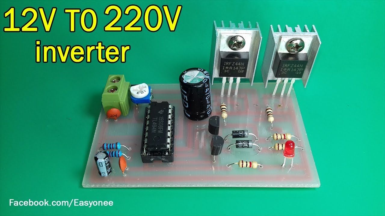 How To Make Inverter 12v To 220v Using Tl494 Mosfet Z44 Electronics Projects Diy Electronics Circuit Electronics Basics