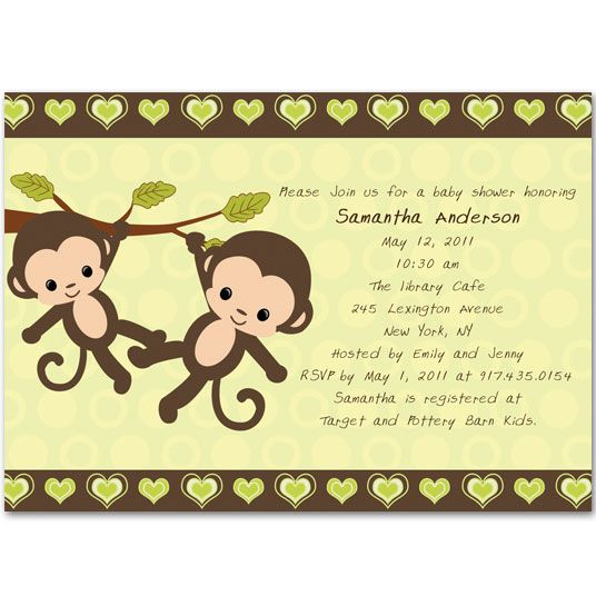 baby shower invitations Hoot These green twin baby shower