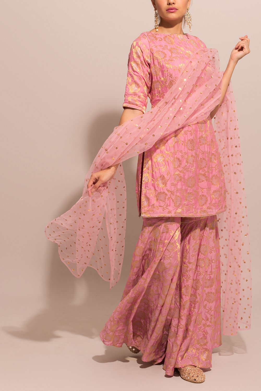 Pink Brocade Sharara Suit   Pakistani dresses casual, Indian fashion dresses,  Designer dresses indian