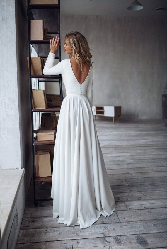 Simple Wedding Dress Dalarna, crepe minimalist dress,  High Low skirt Wedding dress