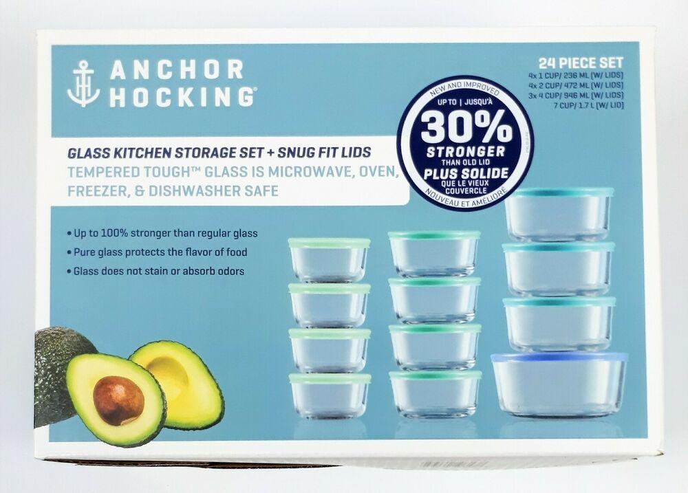 New Anchor Hocking Glass Kitchen Storage with Snug Fit Lids 24 Piece Set