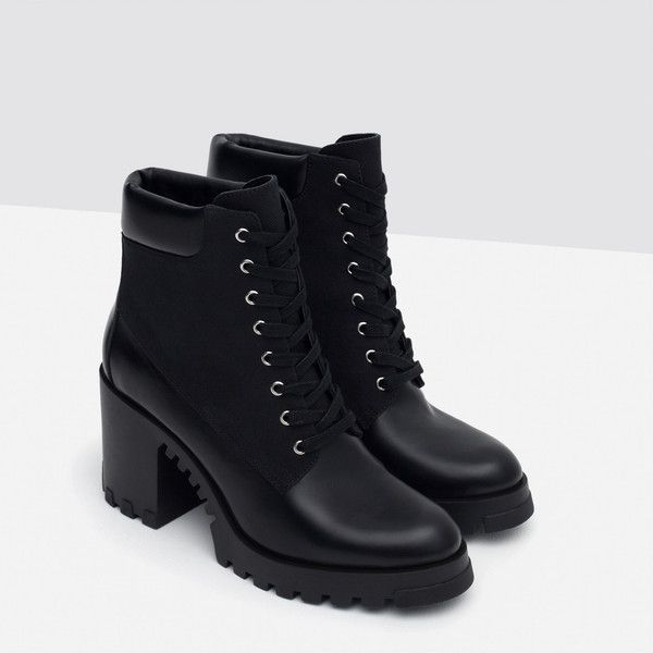 BOÍIN TACÓN CORDONES (715 ARS) ❤ liked on Polyvore featuring shoes, boots, botas, zara shoes, zara boots and zara footwear