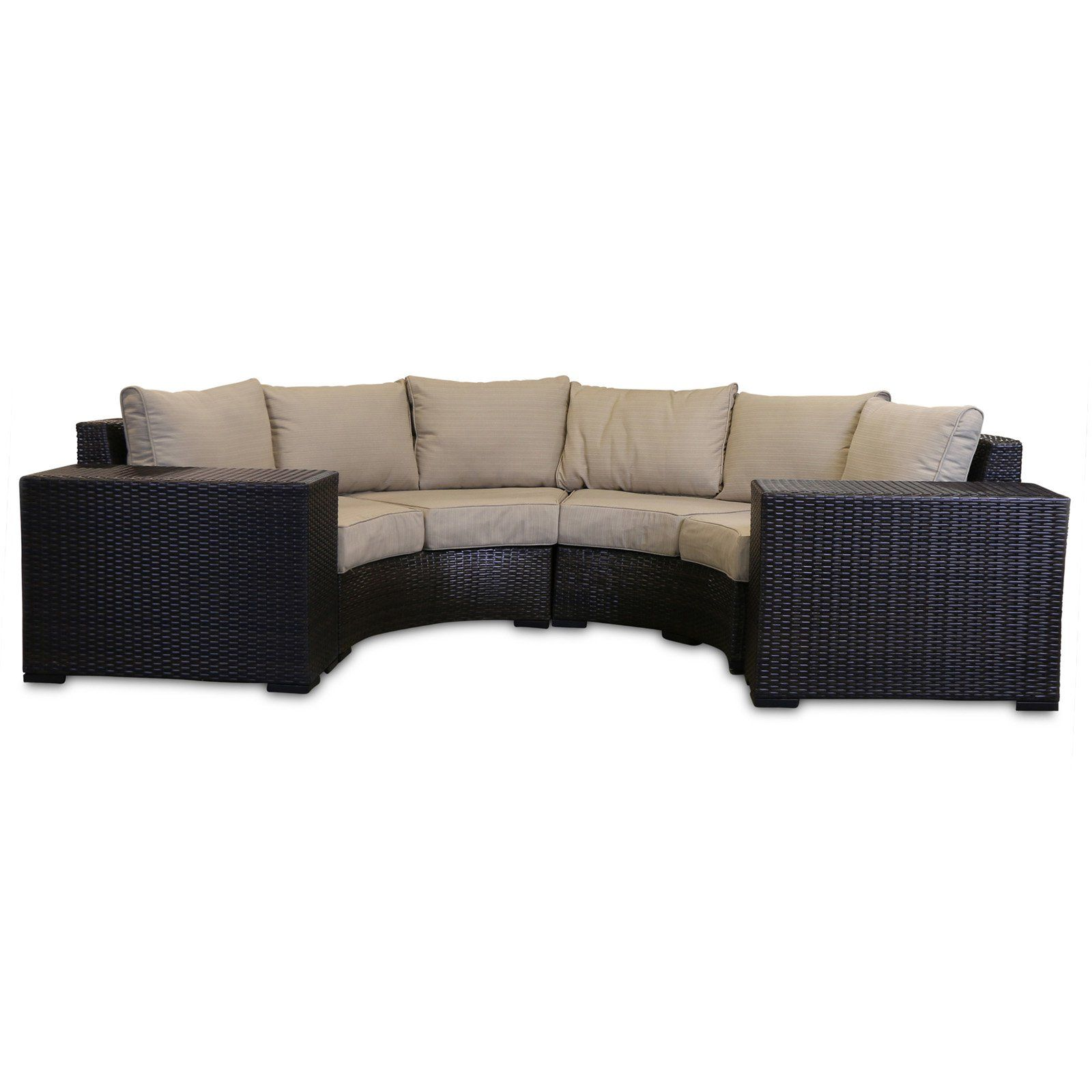 Wicker 4 Piece Curved Outdoor Sectional
