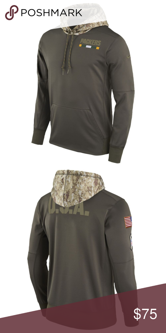 Nike Green Bay Packers Salute to Service Hoodie Features a cargo khaki body  for all teams with a camo hood. screen printed left applique team logo and  DNA ... f997c886b