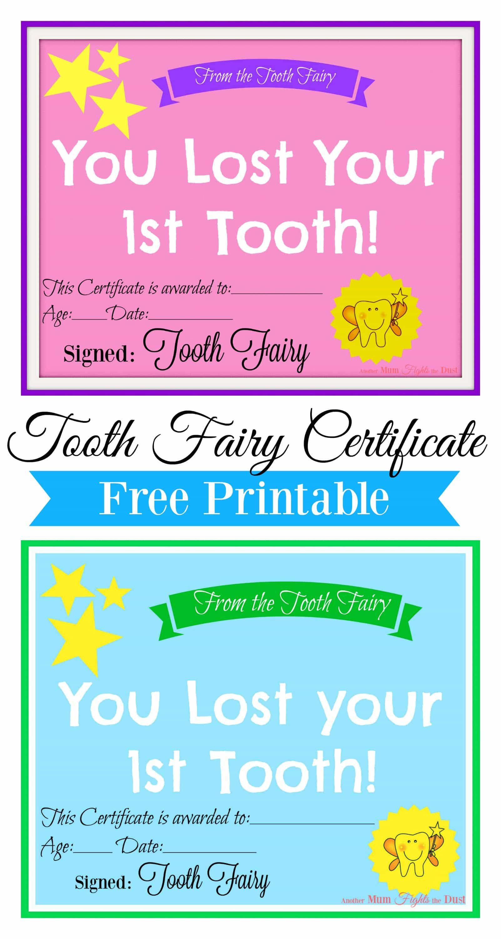 Sweet image inside free printable tooth fairy certificate