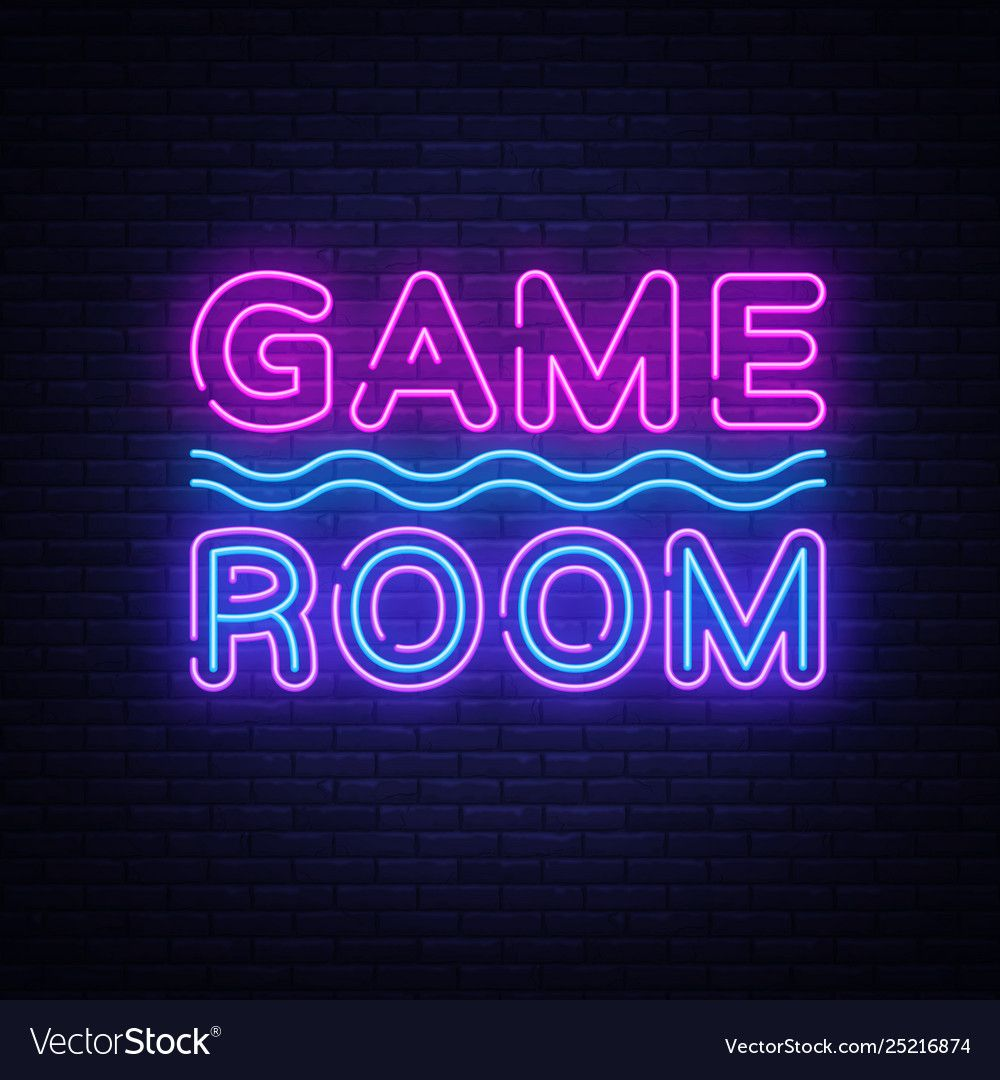 Game Room Neon Text Gaming Neon Sign Royalty Free Vector Sponsored Neon Text Game Room Ad Neon Signs Game Room Led Neon Signs