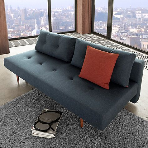 Innovation Recast Sofa Bed With Pocket Sprung Mattress Dark Leg Blue Nist Online At Johnlewis