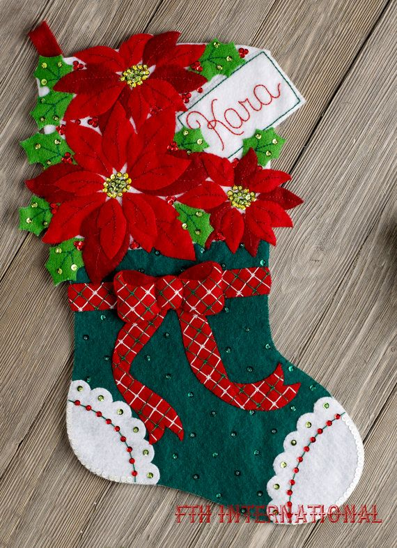Bucilla Christmas Poinsettia 18 Felt Stocking Kit 86705 Flowers